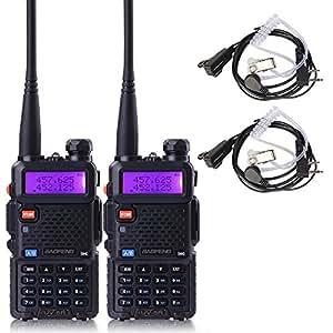 BaoFeng UV-5R Dual Band Two Way Radio 2 pack,+Zastone two- Way Radio Earpiece 2 pack