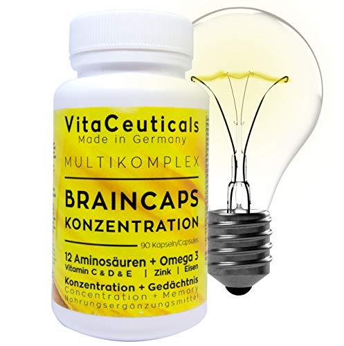 Braincaps - Vitamine für die Konzentration - 12 Aminosäuren - Omega 3 - Vitamin C & D & E - Zink - Eisen - 90 Stk. - MADE IN GERMANY