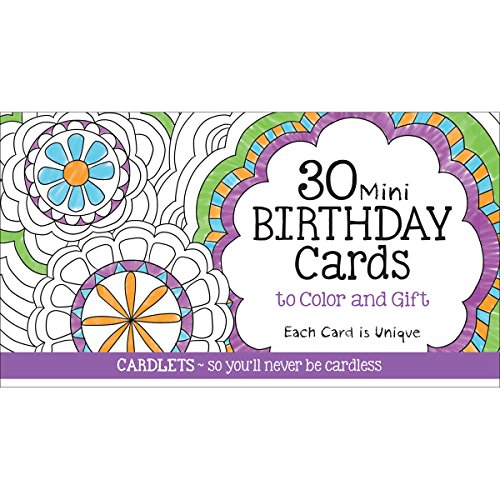 Cardlets: 30 Mini Birthday Cards to Color & Gift
