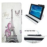 Case Cover für Samsung Galaxy Tab S3 T825 LTE Tablet Schutzhülle Etui mit Touch Pen & Standfunktion - 10.1 Zoll Paris Blume 360˚