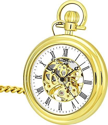 Stuhrling Original Herren Jahrgang Mechanisches Wind skelett 23K Gold überzogen 47mm Taschenuhr mit 12