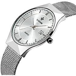 Affute Fashion Mens Watch Mesh Band Japanese Analog Quartz Movt Thin Dial Date Wrist Watches,White