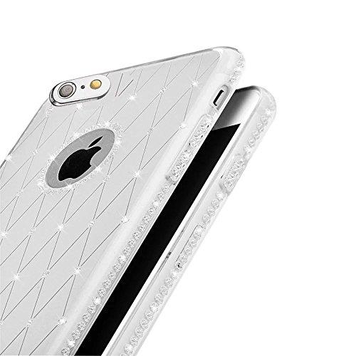 MOMDAD Silicone Trasparente Crystal Case per iPhone 5 5S SE Gel Bumper Protettore Guscio per iPhone 5 5S SE TPU Custodia Diamant-argento
