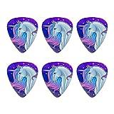 Majestic Unicorn pink violett blau Neuheit Gitarre Plektrum Plektron Picks Stärke Medium–Set of 6