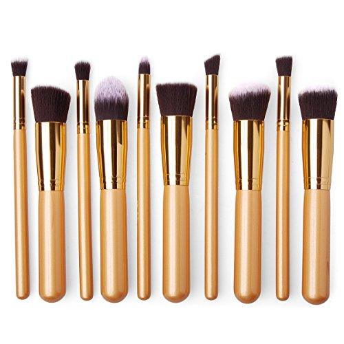 JVJ 10PCS Professional Pro HQ Brosses de Maquillage Brush Set Cosmétique Maquillage Alliant Correcteur de Fard à Paupières de Sourcil de la Fondation de Poudre d'ombre Cosmétiques Outils Kit