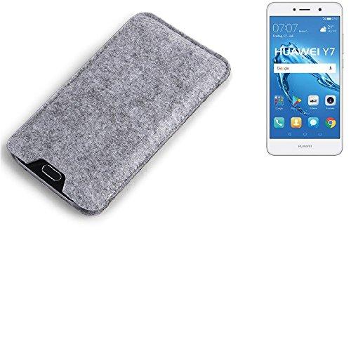K-S-Trade Filz Schutz Hülle für Huawei Y7 Dual SIM Schutzhülle Filztasche Filz Tasche Case Sleeve Handyhülle Filzhülle grau