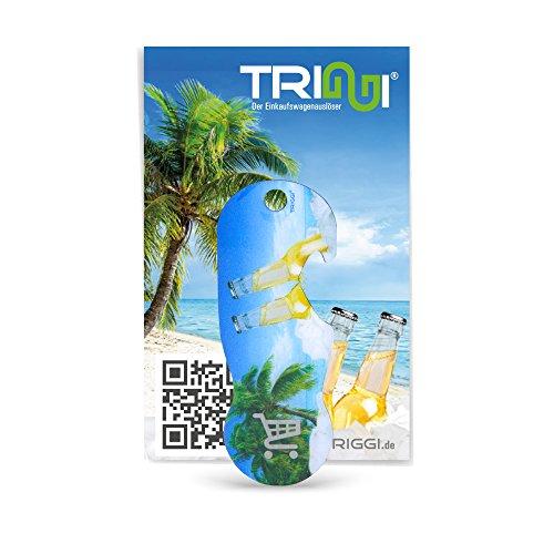 TRIGGI® der Einkaufswagenlöser - Einkaufswagenchip zum Abziehen, Beach Motiv mit Flaschenöffner-Funktion