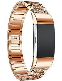 LongraReloj de acero inoxidable de cristal banda reloj de pulsera reloj inteligente (Oro rosa)