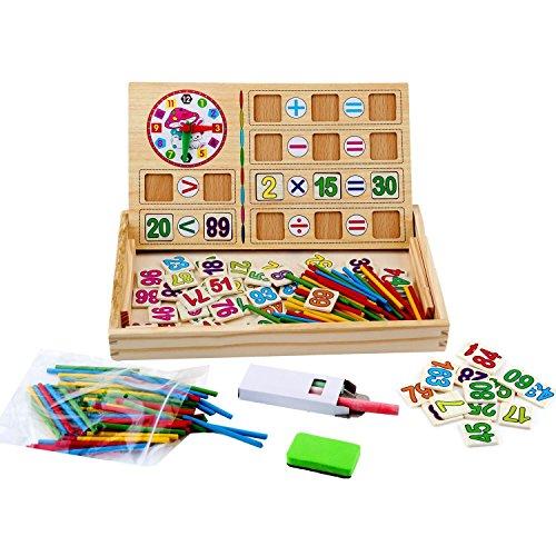 Wie Mit Stäbchen Man (Kinder Mathe Spielzeug, Cellstar Holzpuzzel mit doppelseitig Tafel Mathmatik Rechnen Spielzeug Holzspielzeug für Kinder (Mathe Spiele))
