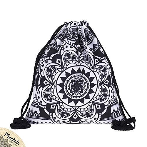 (Creativee Jungen Mädchen Teenager Kordelzug Tasche Full Print Kordelzug Rucksack Schulrucksack Nylon Falttasche für Schule Zuhause Reisen Sport Aufbewahrung, Mandala Black)