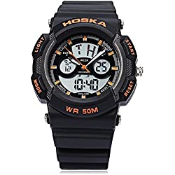 Leopard Shop HOSKA H004B Multifunctional Sport Watch Digital Quartz Children Wristwatch Chronograph Calendar Alarm EL Backlight 50M Water Resistance Black Orange