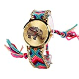 ab6d67c632b8 réf1s76 BR.1111 – Reloj Pulsera brasileño rosa – diseño elefante Mandala  Hippie Bohemia –