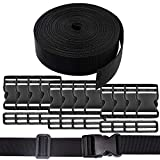 REKYO 38cm Wide 10 Yards Black Nylon Heavy Webbing Strap and 12 PCS Flat Side Release Buckles And Adjustable Buckles Nylon Webbing Tape For DIY Craft Backpack Strapping