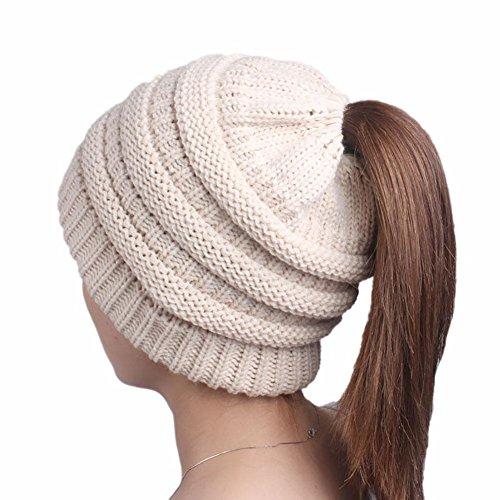 Kabel Stricken Baumwolle Hut (MAOXZI DXAYY Frauen Stricken Hut Winter Beanie Stretch Chunky Kabel chaotisch Pferdeschwanz Brötchen Hut, beige)