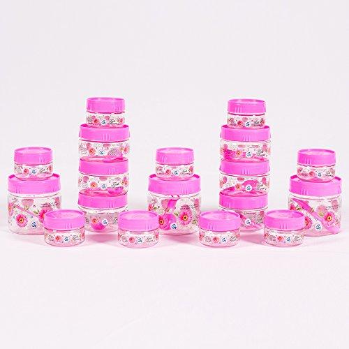 G-PET Plastic Jar Set, 18-Pieces, Pink