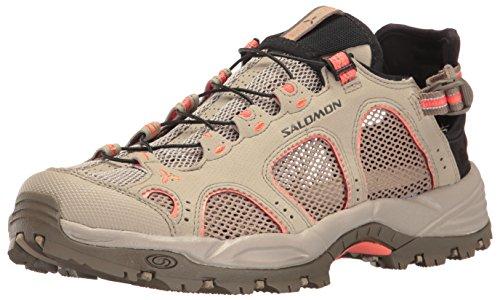 Salomon Techamphibian 3 W, Sneakers trail-running femme Vert kaki / Corail (Vintage Kaki/Bungee Cord/Living Coral)