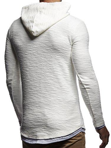 LEIF NELSON Herren Pullover Kapuzenpullover Hoodie oversize Sweatshirt mit Kapuze Longsleeve Sweater Langarm LN8120 Ecru