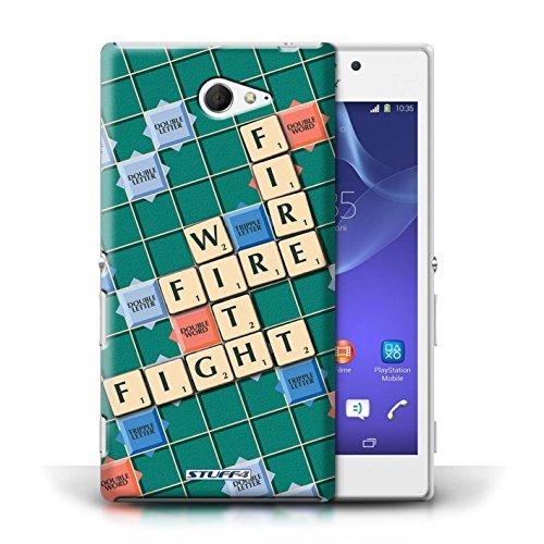 Kobalt® Imprimé Etui / Coque pour Sony Xperia M2 / Douce Vengeance conception / Série Mots de Scrabble Lutte Incendie