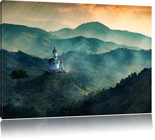 Tal Hängen (Buddha Bild im Tal der Dunkelheit, Format: 120x80 auf Leinwand, XXL riesige Bilder fertig gerahmt mit Keilrahmen, Kunstdruck auf Wandbild mit Rahmen, günstiger als Gemälde oder Ölbild, kein Poster oder Plakat)