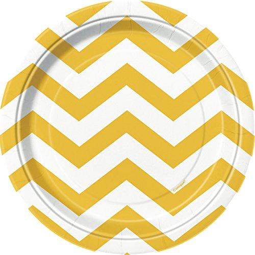 unique-party-38594-paquet-de-8-assiettes-carton-motif-chevron-18-cm-jaune