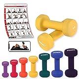 Neopren Hanteln Gewichte für Gymnastik Kurzhanteln 0,5 kg - 5 kg oder Set komplett (2 x 2 kg)