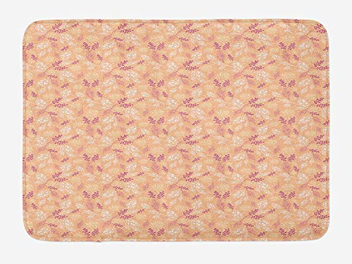 (ERCGY Leaves Bath Mat, Abstract Nature Inspired Composition with Doodle Style Foliage Dotted Design, Plush Bathroom Decor Mat with Non Slip Backing, 23.6 W X 15.7 W Inches, Peach Violet White)