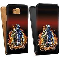 Samsung Galaxy Alpha Tasche Schutz Hülle Walletcase Bookstyle Feuerwehrmann Feuerwehr Firefighter