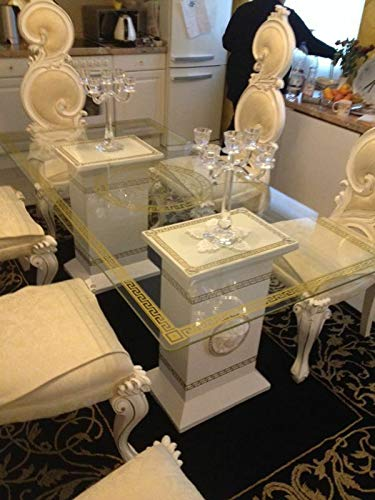 Deko-König 2 Säulen- Tisch mit Glasplatte Medusa Esstisch Mäander Bürotisch 6035 k-108