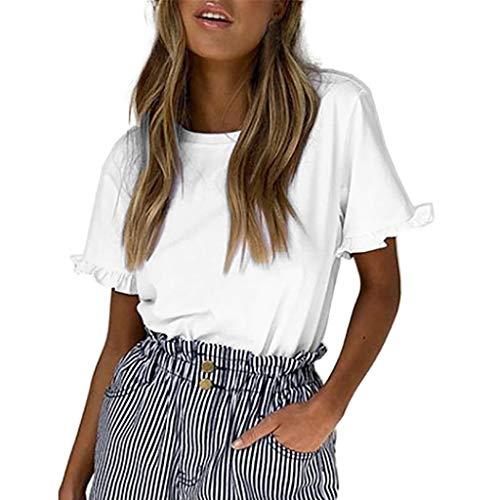 Kviklo Damen Top T-Shirt Solide Rüsche O-Ausschnitt Kurzarm T Beiläufige Lose Bluse(M(38),Weiß) (Mäppchen Secrets Victoria)