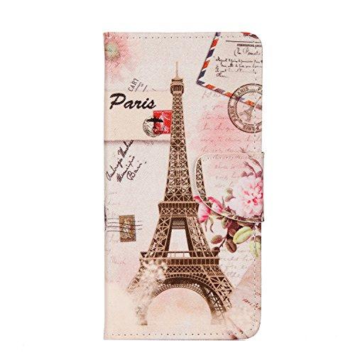 lle Leder, Flip Wallet Cover Brieftasche Handyhülle Silikon Schutzhülle Case mit Kartenfach und Magnetisch Klapphülle für Nokia 3 - Eiffel Turm ()