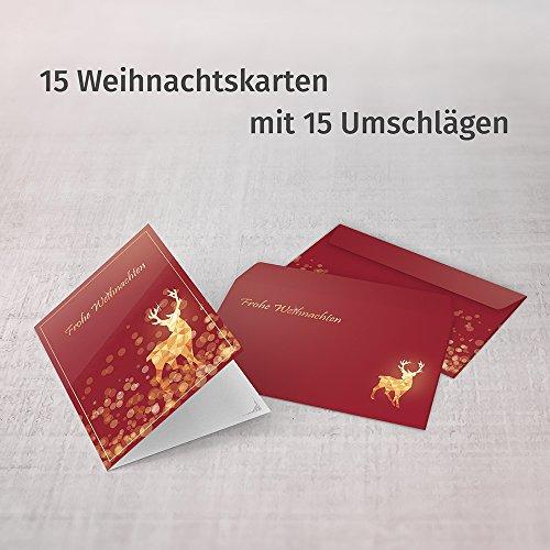 Weihnachtskarten mit Umschlägen (15er Set) - Klappkarten mit Rentier-Motiv in Rot für die schönsten Weihnachtsgrüße - Frohe Weihnachten