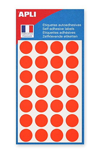Agipa–5bolsas con 140etiquetas adhesivas de señalización, redondas, de 15mm, Color rojo flúor