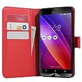 Zenfone 2 Hülle, HualuBro [All Aro& Schutz] Premium PU Leder Leather Wallet Handy Tasche Schutzhülle Case Flip Cover für Asus ZenFone 2 ZE551ML / ZE550ML 5,5 Zoll Smartphone - Rot