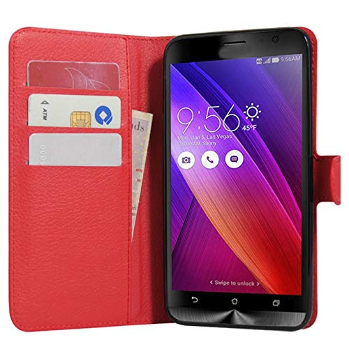 Zenfone 2 Hülle, HualuBro [All Around Schutz] Premium PU Leder Leather Wallet Handy Tasche Schutzhülle Case Flip Cover für Asus ZenFone 2 ZE551ML / ZE550ML 5,5 Zoll Smartphone - Rot (Hinweis 2 Wallet Case Rot)