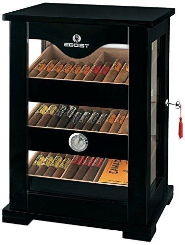 Egoist Premiuem - Zigarren Humidor Schrank aus Holz mit Hygrometer und Befeuchtungssystem für ca. 100 Zigarren I Zigarren-Zubehör - Schwarz