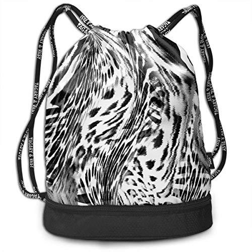 Men & Women Waterproof Large Storage Drawstring Backpack - Camo Leopard Tiger Zebra Print (2) Cinch Backpack Sackpack Tote Sack for Gym Hiking School