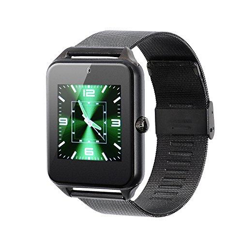 VOSMEP Smartwatch Uhr Telefon Unterstützung E-Mail mit Bluetooth 4.0 Smart Armbanduhr Verpackungs Telefon Sport Armband mit Kamera Touch Screen für Apple / iOS, Samsung / Android, HTC Xiaomi Huawei, Unterstützt SMI / TF Smartphones (Black Metal Strap) SM18