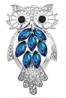 FENGJI Owl Brooch Ladies Brooches Pins for Women with Crystal Rhinestone Christmas Gift Silver Plated Ink-Blue