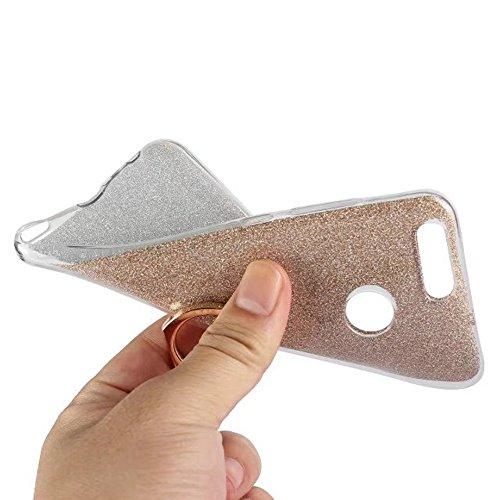 Soft Flexible TPU Back Cover Case Shockproof Schützende Shell mit Bling Glitter Sparkles und Kickstand für Huawei Nova 2 ( Color : Blue ) Blue