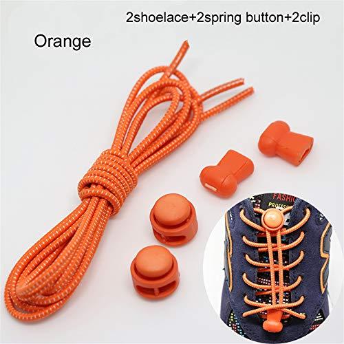 KEKEDA - Lacci Elastici Senza Lacci, con Serratura, Stringhe Elastiche per Scarpe da Ginnastica, Sistema di Allacciatura rapido per Corsa, Orange, Normale