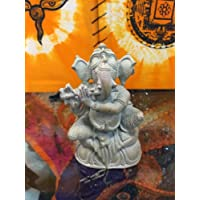 Yoga Decor Ganesh Stone Statue Playing Flute Seated on Lotus Base 4 Inch