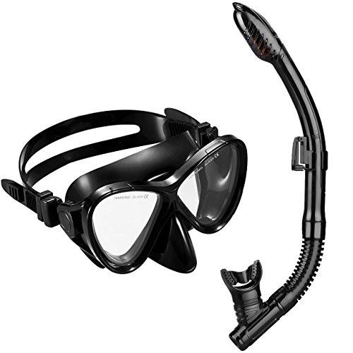 OMORC Schnorchelset, Premium Schnorchelset Tauchset Erwachsene mit Wasserdichte gehärtetem Glas Taucherbrille Tauchmaske