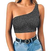 871989f9e219 Camisetas sin Mangas de Verano para Mujer Camisas Chaleco Umbilical Hombro  Oblicuo Atractivo del Color sólido
