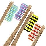 4x Pack Bambus Zahnbürste Set by mypurecore | Umweltfreundlich biologisch abbaubar Bambus Zahnbürsten mit 4schönen Farben | BPA-frei und Vegan | Medium Soft Borsten–Perfekt für die ganze Familie | inklusive gratis E-Book