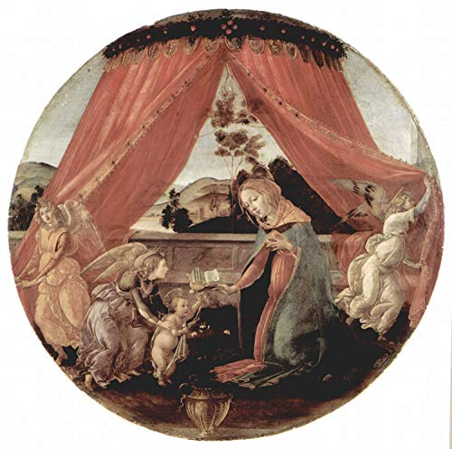 Steve Art Gallery Madonna and Child with Three Angels or,Sandro Botticelli,50x50cm -