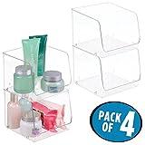 mDesign 4er-Set Badezimmer Aufbewahrungsboxen ? ideal für Gesundheitsprodukte, Schönheitsprodukte und Parfüm - stapelbar - durchsichtig