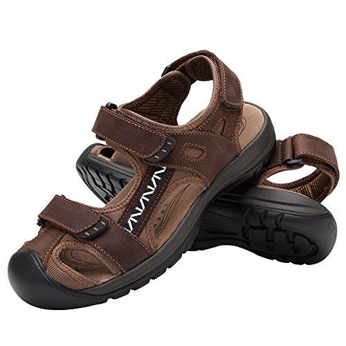 Rismart Herren Geschlossene Zehe Klettverschluss Gurt Draussen Sport Sandalen Mit Weich Gepolstert Einlegesohle Kaffee