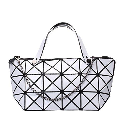 Damenmode Geometrische Schultertasche Handtasche White