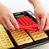 Waffelform Silikon Waffelform Set 4-fach Antihaft-Silikon-Rechteck Waffel Mold DIY Schokolade Backen Kochen Werkzeug-Rot