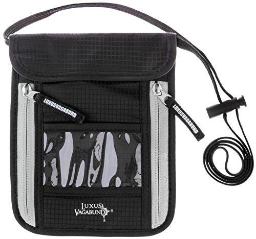 Brustbeutel mit Sichtfenster für maximale Sicherheit für Smartphone und Reise-Dokumente - RFID Blocker - flach und leicht - Brusttasche zum Umhängen - für Damen und Herren in Schwarz (Herren Umhänge)